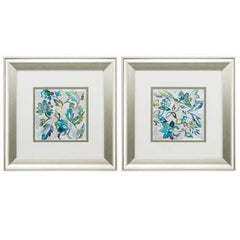"13"" X 13"" Brushed Silver Frame Sapphire Vine (Set of 2)"