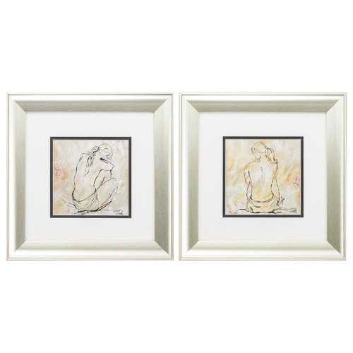 "13"" X 13"" Aged Silver Frame Sketch (Set of 2)"