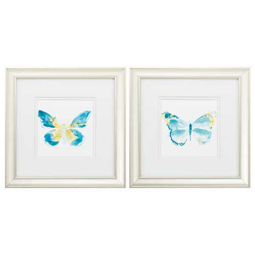 "12"" X 12"" Champagne Gold Color Frame  Butterfly Traces (Set of 2)"