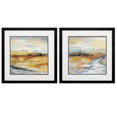 "17"" X 17"" Silver Frame Silver River (Set of 2)"