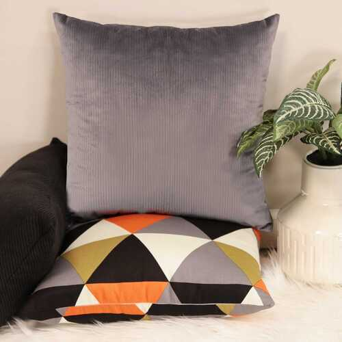 "18"" X 5.5"" X 18"" Dark Grey Polyester Square Pillow"