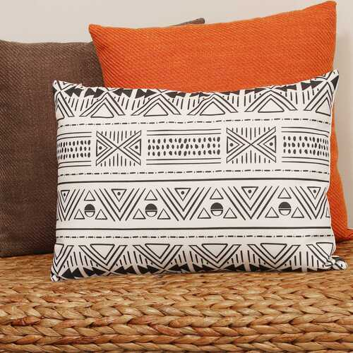 "20"" X 5.5"" X 14"" Black And White Polyester Lumbar Pillow"