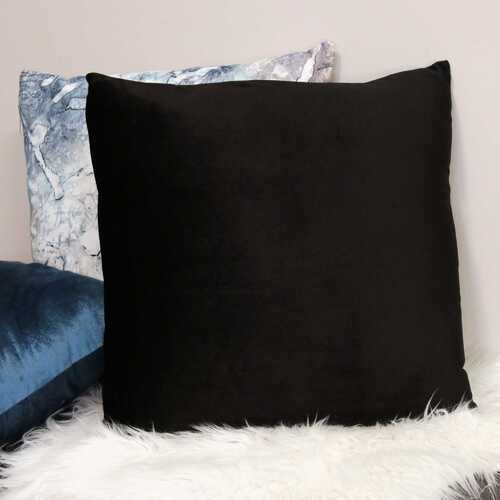 "18"" X 5.5"" X 18"" Black Polyester Square Pillow"