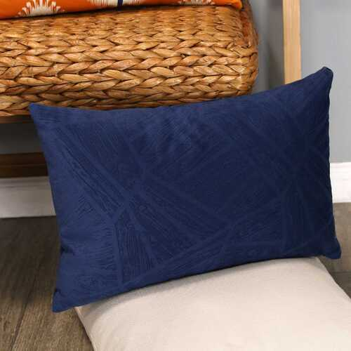 "20"" X 4"" X 14"" Blue Polyester Lumbar Pillow"