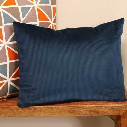 "20"" X 4"" X 14"" Blue Cotton Polyester Lumbar Pillow"