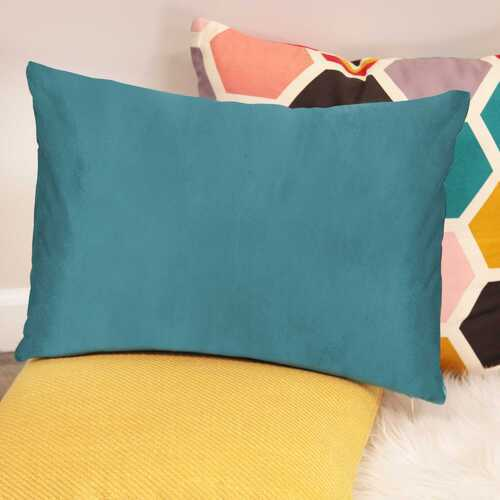 "20"" X 4"" X 14"" Teal Cotton Polyester Lumbar Pillow"