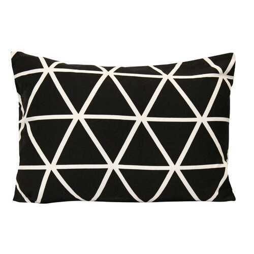 "20"" X 4"" X 14"" Black White Cotton Polyester Lumbar Pillow"