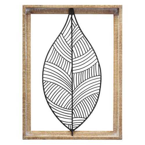 "12.01"" X 1.18"" X 16"" Natural Black Wood Metal Wall Decor"