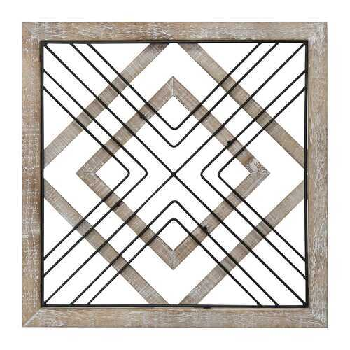 "16"" X 1"" X 16"" Natural Black Wood Mdf Wood Veneer Metal Wall Decor"