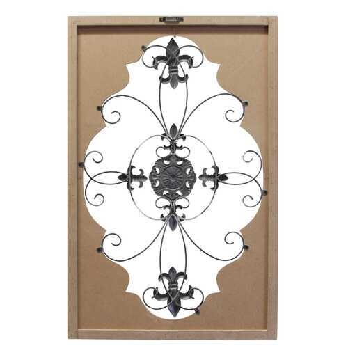 "23.62"" X 1.06"" X 36.34"" Natural White Metal Mdf With Wood Veneer Scroll Panel"