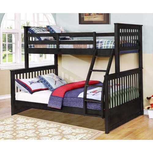 "80'.5"" X 41'.5-57'.5"" X 70'.25"" Charcoal Manufactured Wood and  Solid Wood Twin/Full Bunk Bed"