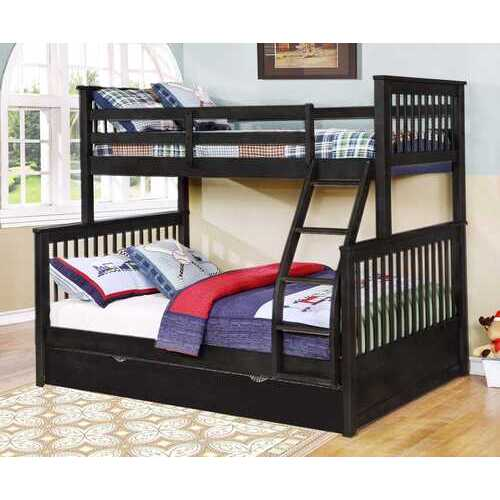 "80'.5"" X 41'.5-57'.5"" X 70'.25"" Charcoal Manufactured Wood and  Solid Wood Twin/Full Bunk Bed with Matching Trundle"