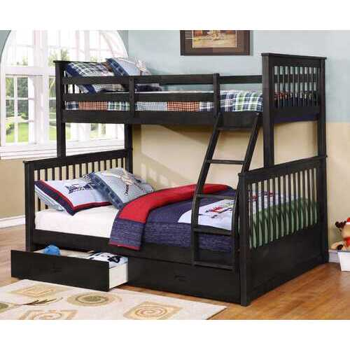 "80'.5"" X 41'.5-57'.5"" X 70'.25"" Charcoal Manufactured Wood and  Solid Wood Twin/Full Bunk Bed with 2 Drawers"