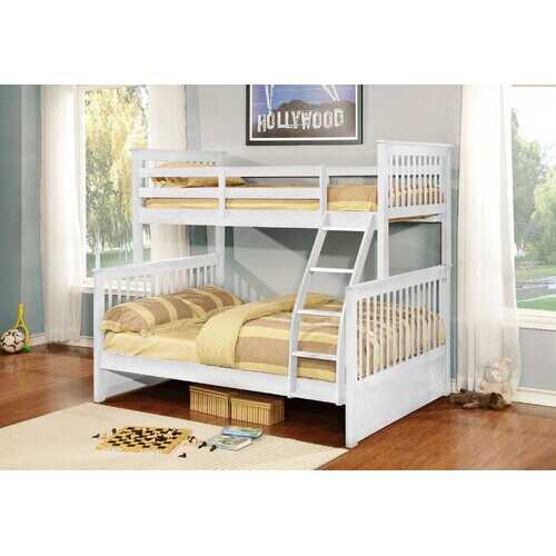 "80'.5"" X 41'.5-57'.5"" X 70'.25"" White Manufactured Wood and  Solid Wood Twin/Full Bunk Bed"