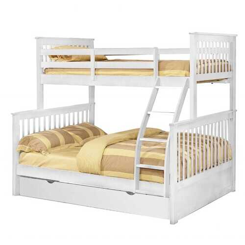 "80'.5"" X 41'.5-57'.5"" X 70'.25"" White Manufactured Wood and  Solid Wood Twin/Full Bunk Bed with Matching Trundle"