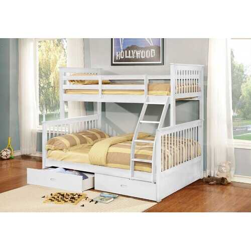 "80'.5"" X 41'.5-57'.5"" X 70'.25"" White Manufactured Wood and  Solid Wood Twin/Full Bunk Bed with 2 Drawers"