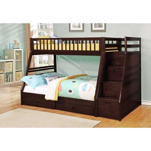 "81"" X 59"" X 65"" Brown Manufactured Wood and  Solid Wood Twin/Full Staircase Bunk Bed with Storage"