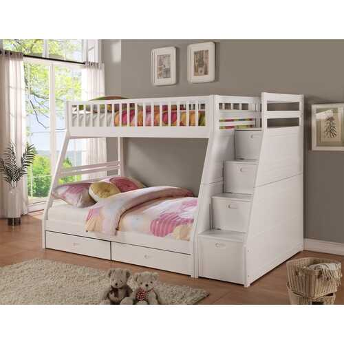 "81"" X 59"" X 65"" White Manufactured Wood and  Solid Wood Twin/Full Staircase Bunk Bed with Storage"