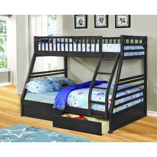 "78'.75"" X 42'.5-57'.25"" X 65"" Grey Manufactured Wood and  Solid Wood Twin/Full Bunk Bed with 2 Drawers"