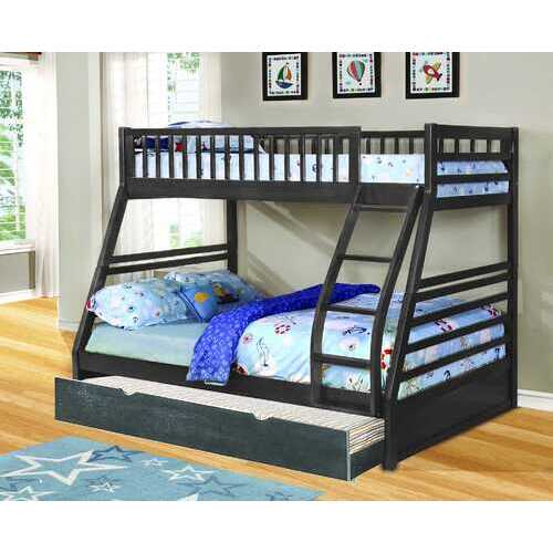 "78'.75"" X 42'.5-57'.25"" X 65"" Grey Manufactured Wood and  Solid Wood Twin/Full Bunk Bed with Matching Trundle"