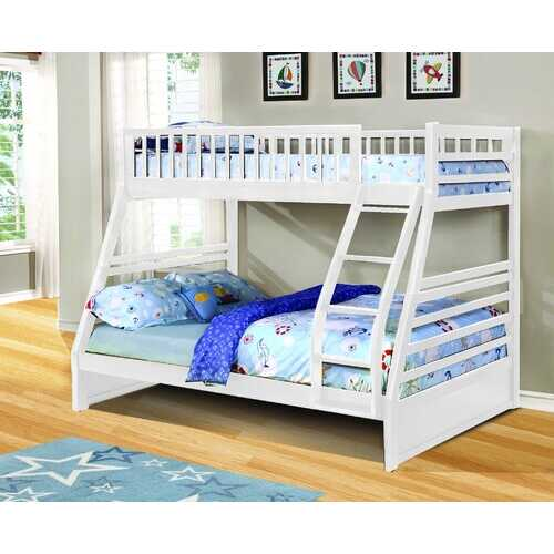 "78'.75"" X 42'.5-57'.25"" X 65"" White Manufactured Wood and  Solid Wood Twin/Full Bunk Bed"