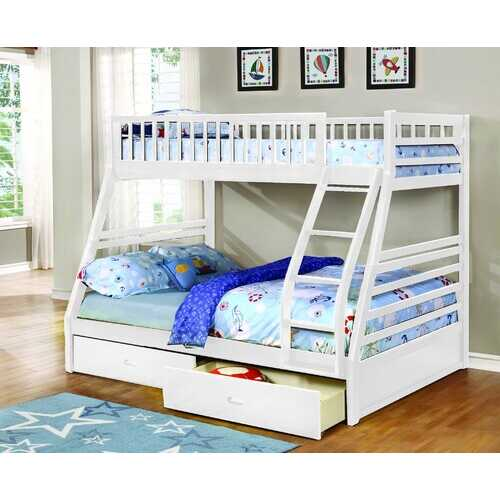"78'.75"" X 42'.5-57'.25"" X 65"" White Manufactured Wood and  Solid Wood Twin/Full Bunk Bed with 2 Drawers"