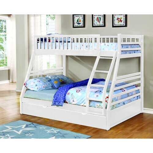 "78'.75"" X 42'.5-57'.25"" X 65"" White Manufactured Wood and  Solid Wood Twin/Full Bunk Bed with Matching Trundle"
