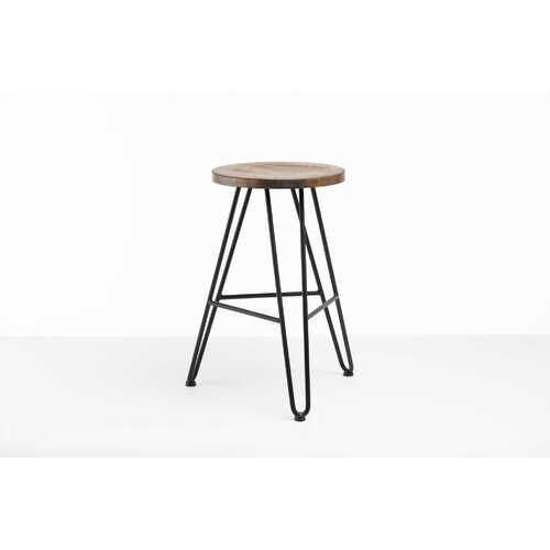 "12"" X 12"" X 24"" Charcoal Ash Wood And Steel Round Counter Bar Stool"
