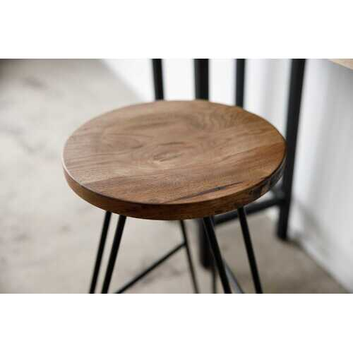 "12"" X 12"" X 30"" Chocolate Ash Wood And Steel Round Bar Stool"