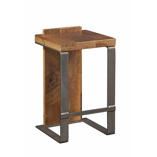 "16"" X 14"" X 30"" Natural Reclaimed Oak And Steel Stool"