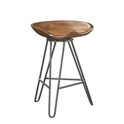"19.'5"" X 14"" X 24"" Chocolate Maple And Steel Stool"