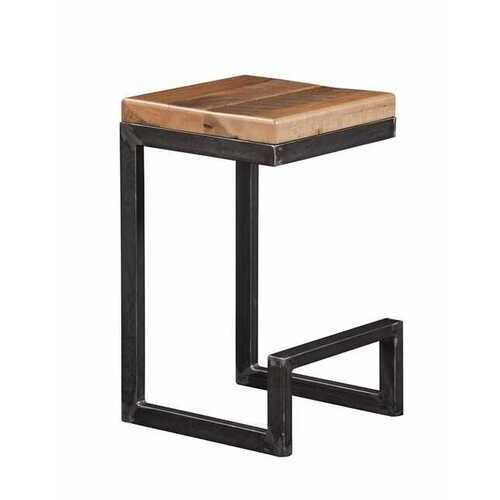 "14"" X 15"" X 24"" Natural Reclaimed Oak And Steel Stool"