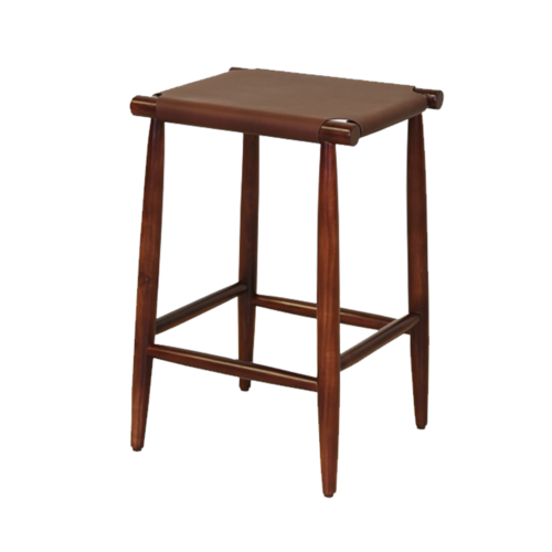 "17"" X 15'.5"" X 25'.5"" Brown  Wood/Leather Counter Stool"