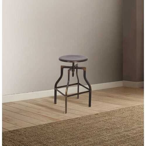 "14"" X 14"" X 24"" Antiqued Copper Metal Adjustable Stool (1Pc)"
