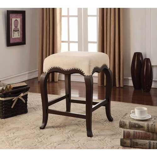"19"" X 19"" X 24"" Espresso Wood Counter Height Stool (1Pc)"