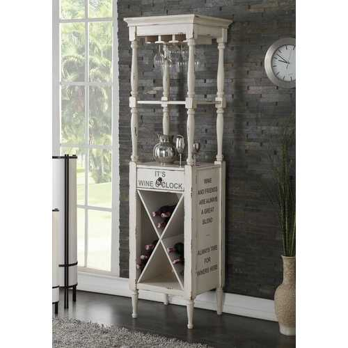 "20"" X 18"" X 73"" Antique White Wood Wine Cabinet"
