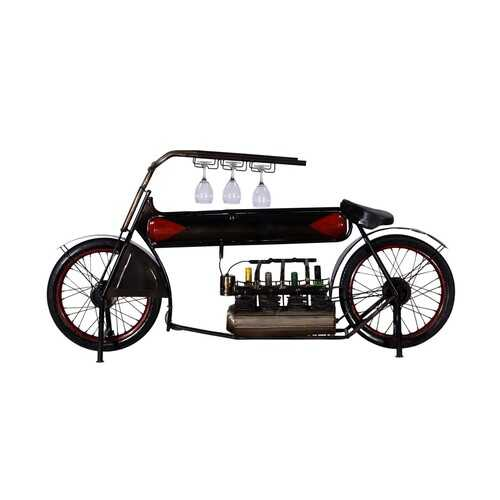 "14"" X 72"" X 35"" Black and Red Motorcycle Wine Rack"