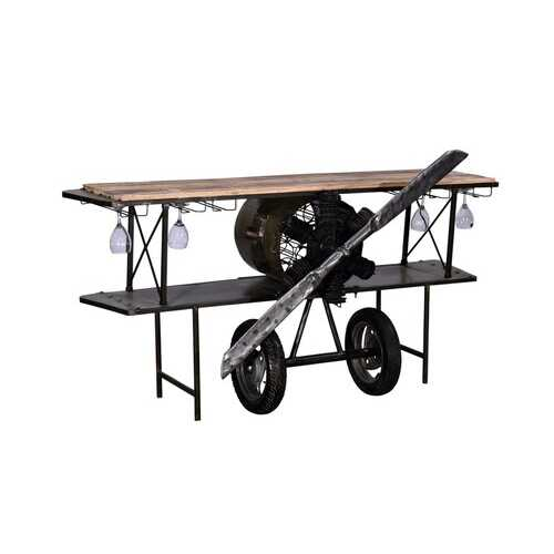 "23"" X 78"" X 36.5"" Black Airplane Bar"