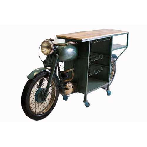 "22"" X 86.5"" X 40"" Green Historical Motorcycle Wine Bar"