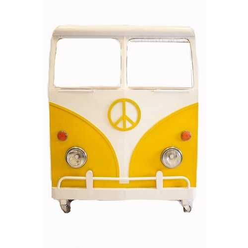 "12.5"" X 53.5"" X 68.5"" Yellow and White Peace Van Wine Bar"