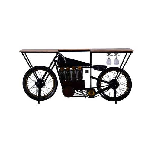 "17"" X 71"" X 35"" Black Motorcycle Wine Bar"
