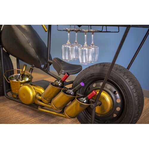 "16.5"" X 70"" X 33"" Black and Gold Chopper Style Motorcycle Bar"