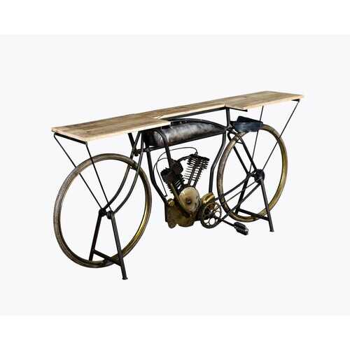 "14"" X 76"" X 34"" Silver Antique Bike Table"