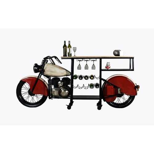 "18"" X 93"" X 39"" Red and White Motorcycle Wine Bar"