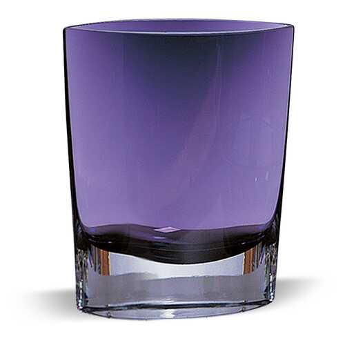 "8"" Mouth Blown Glass European Made Light Violet Pocket Shaped Vase"