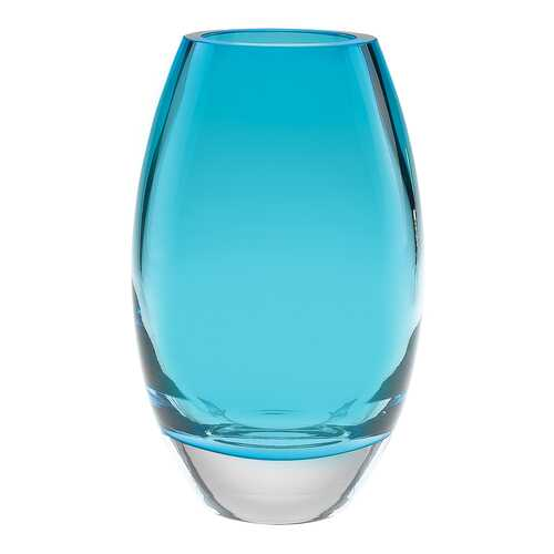 "9"" Mouth Blown Crystal European Made Aqua Blue Vase"