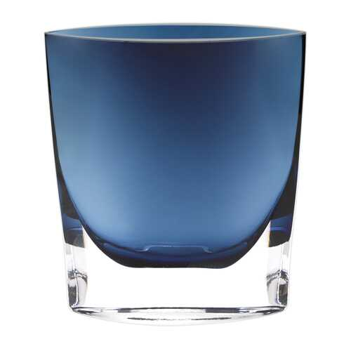 "11"" Mouth Blown Crystal Midnight Blue Pocket Shaped Vase"