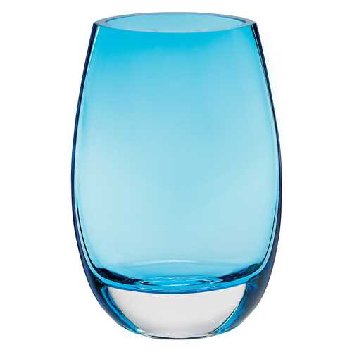"8"" Mouth Blown Crystal Lead Free Oval Thick Aqua Blue Walled Vase"