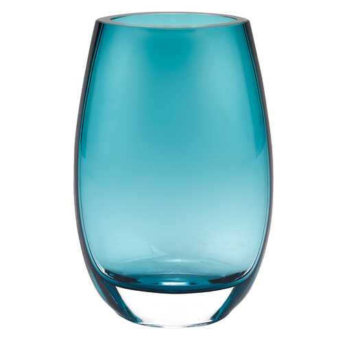"8"" Mouth Blown Crystal Oval Thick Peacock Blue Walled Vase"