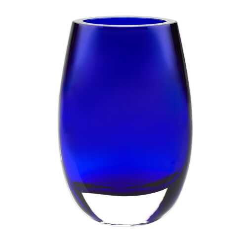 "8"" Mouth Blown Crystal Cobalt Blue Vase"
